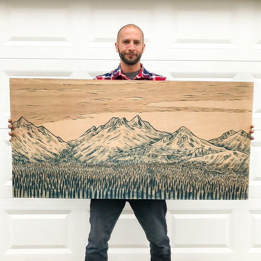Blue acrylic mountain painting on birch wood